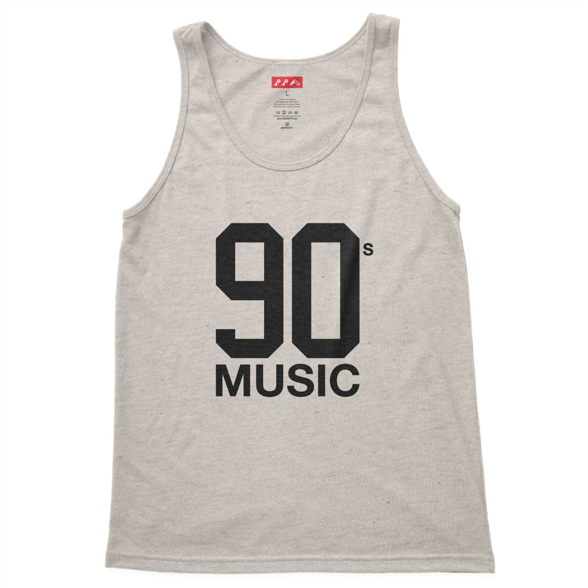 90s MUSIC graphic on a oatmeal triblend tank top at kikicutt.com