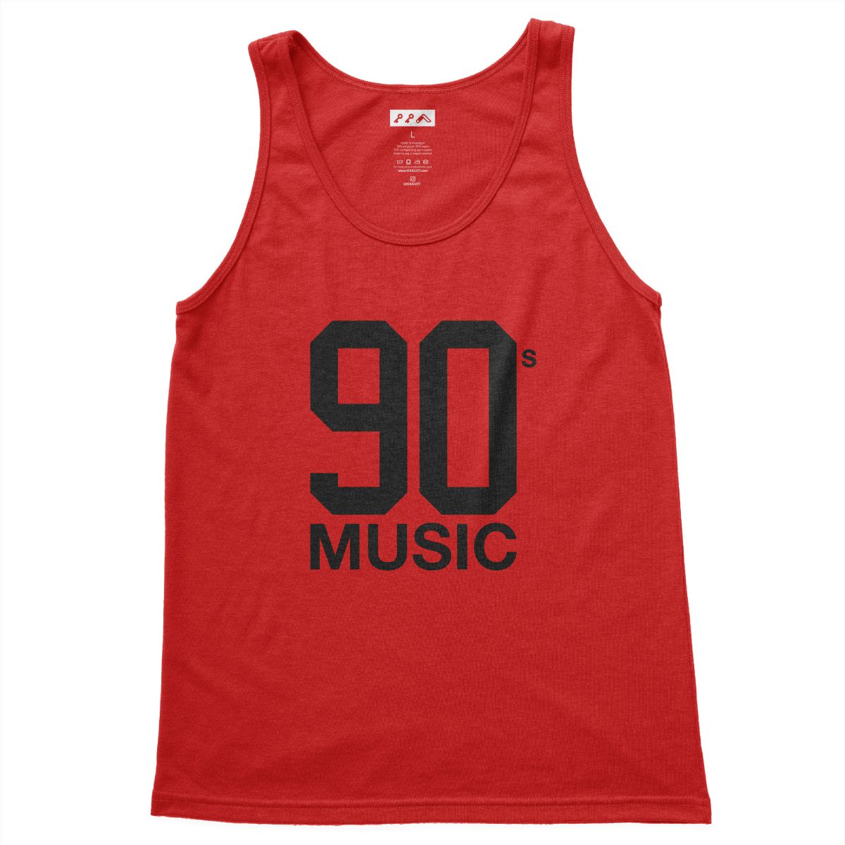 90s MUSIC graphic on a red triblend tank top at kikicutt.com