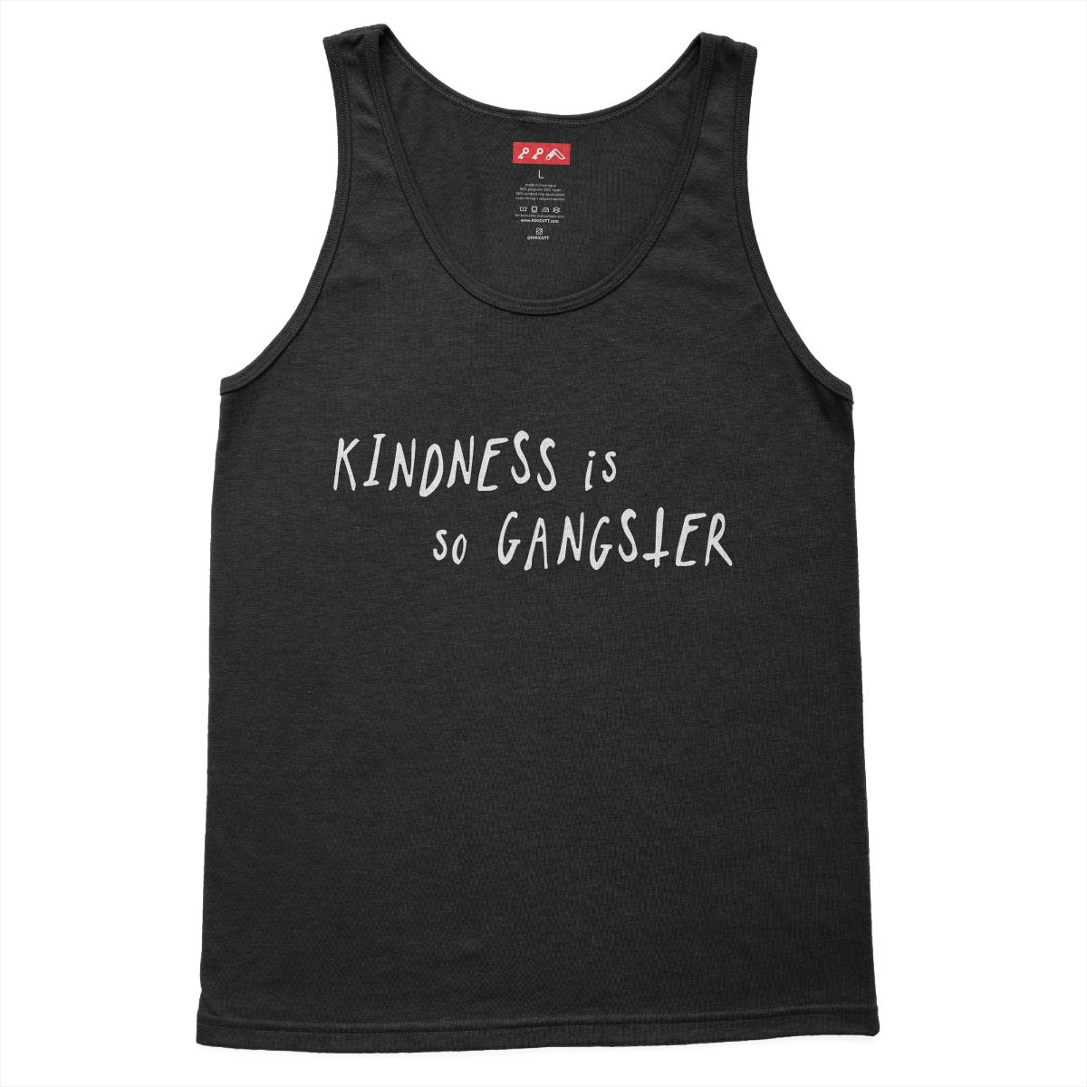 KINDNESS IS SO GANGSTER graphic on a charcoal black triblend tank top at kikicutt.com