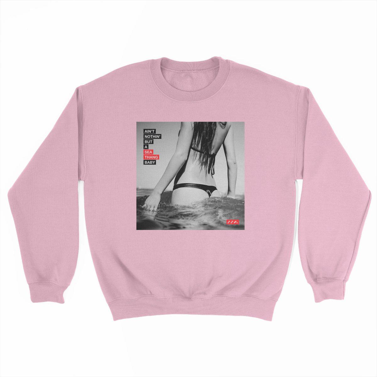 SEA THANG sexy ocean gangsta rap graphic on a light pink sweatshirt at kikicutt.com