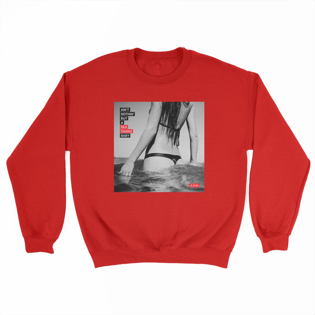 SEA THANG sexy ocean gangsta rap graphic on a red sweatshirt at kikicutt.com