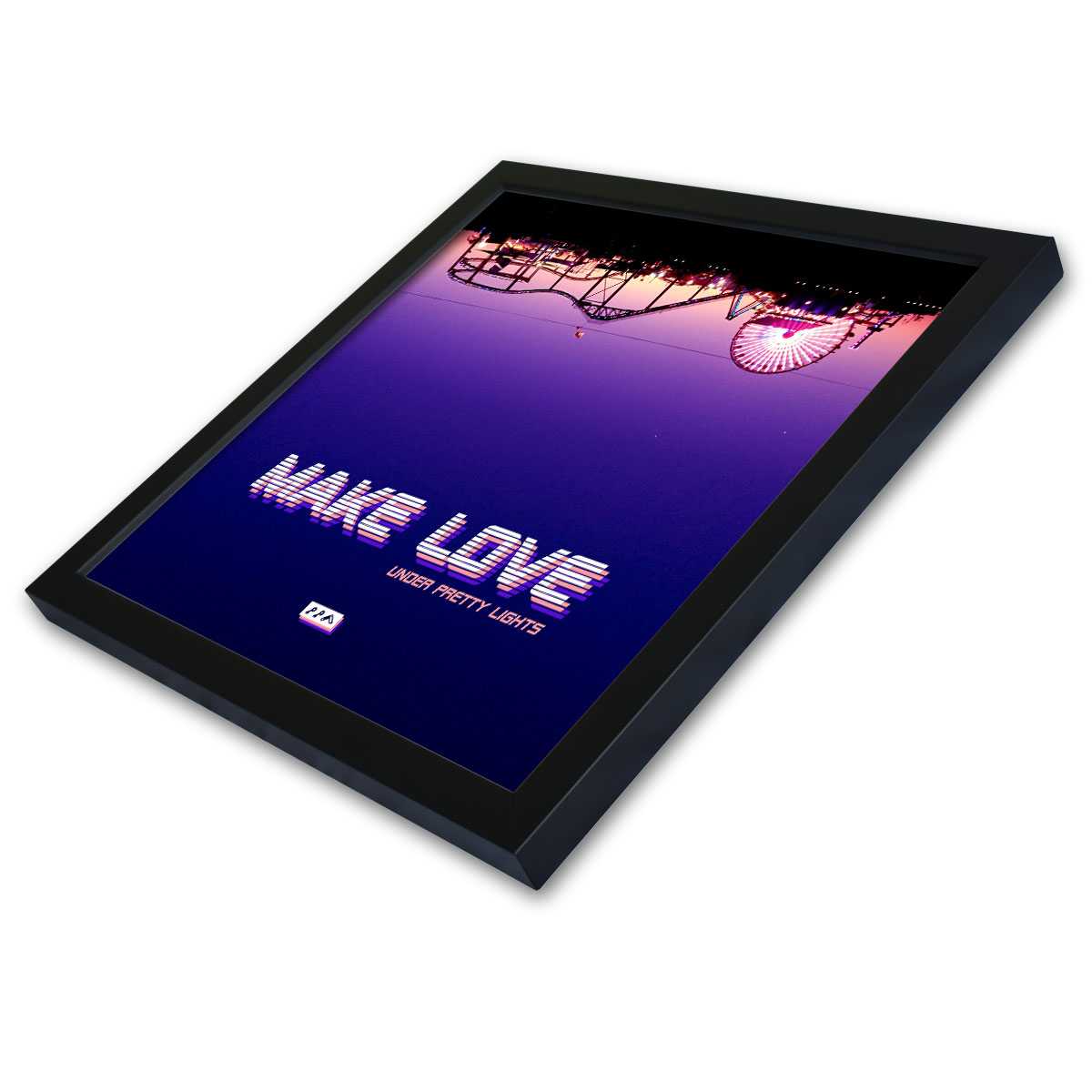 MAKE LOVE under pretty lights santa monica framed prints by kikicutt