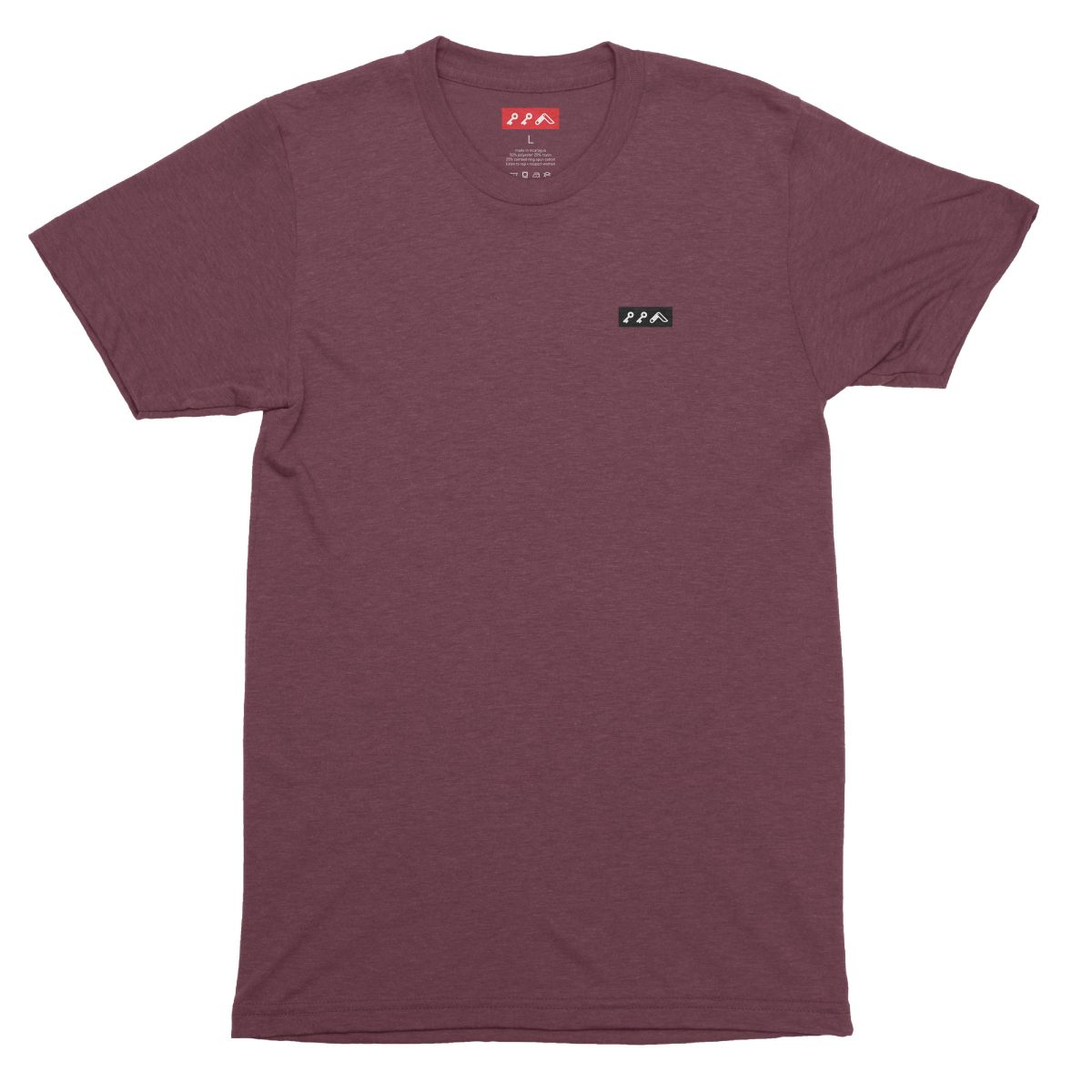 KIKICUTT black icon on a super soft maroon tri-blend t-shirt