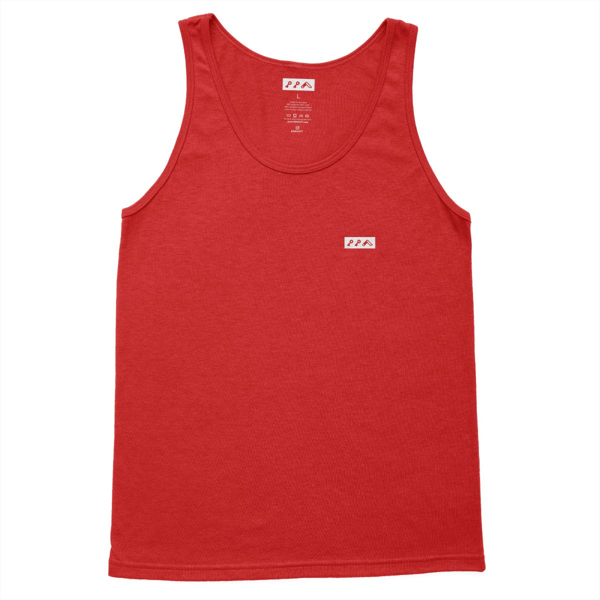 KIKICUTT white icon on a red super soft beach tank top at kikicutt.com
