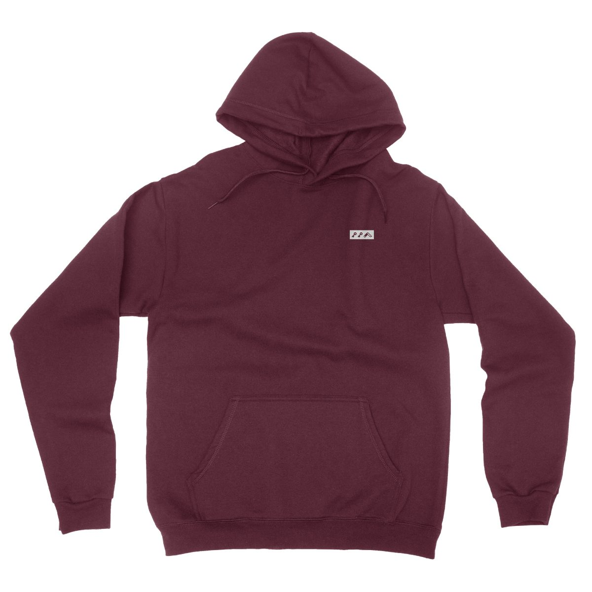 KIKICUTT white icon on an maroon classic and comfortable hoodie
