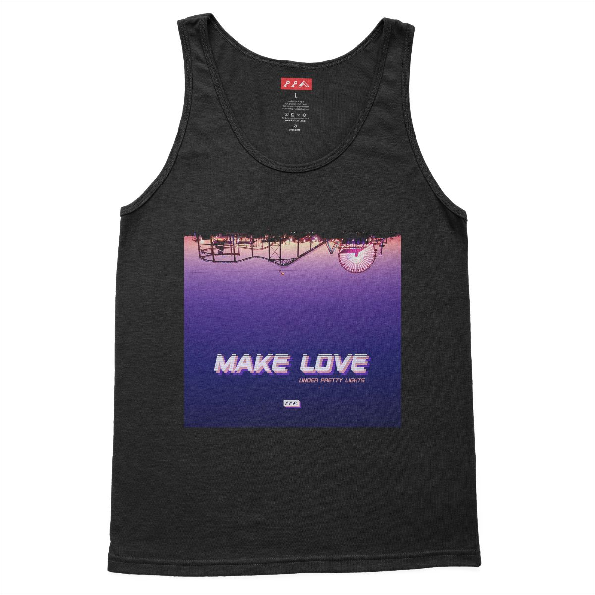 MAKE LOVE under pretty lights santa monica beach tank top charcoal black tri-blend