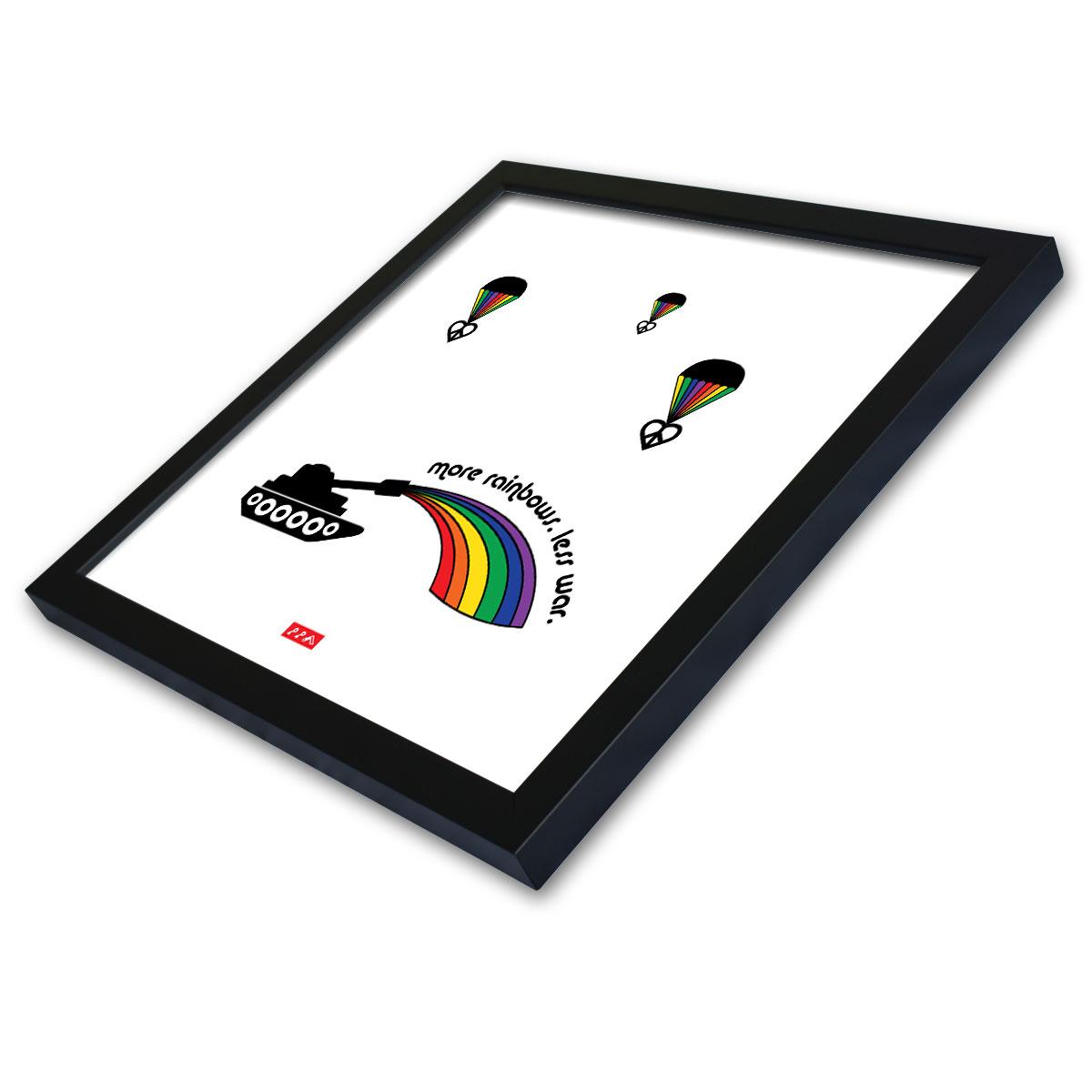 """more rainbows. less war."" framed prints of the rainbows series by kikicutt"