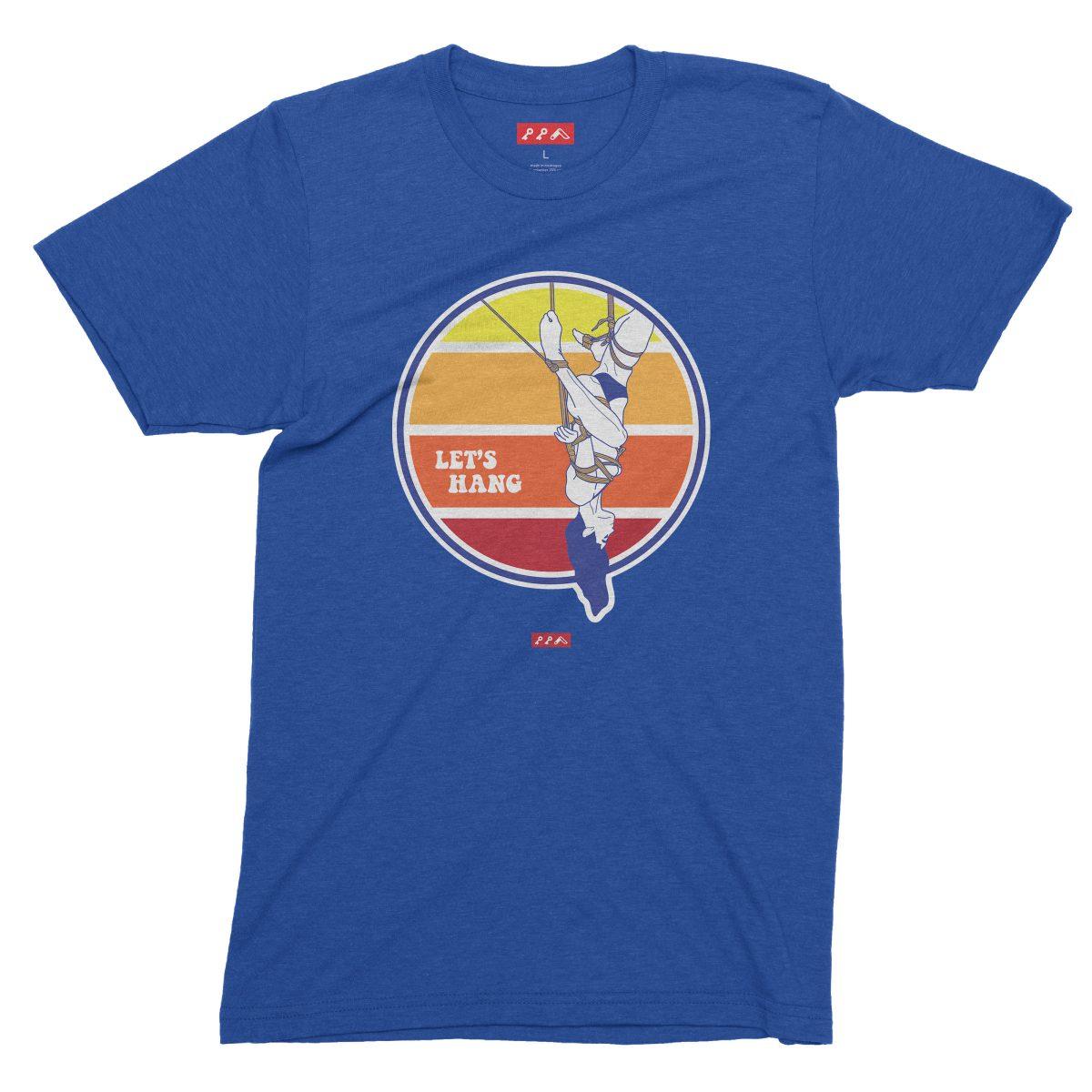 LET'S HANG shibari bondage shirt in dodger blue tri-blend