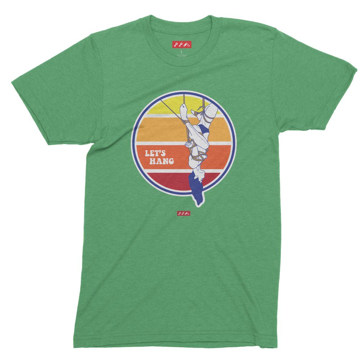 LET'S HANG shibari bondage shirt in green tri-blend