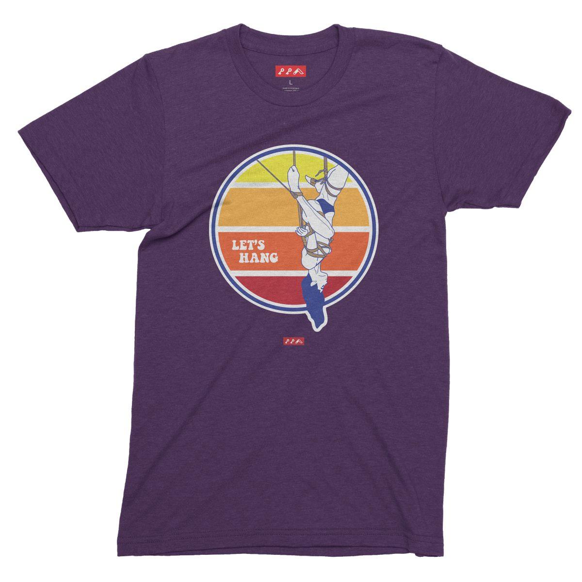 LET'S HANG shibari bondage shirt in purple tri-blend
