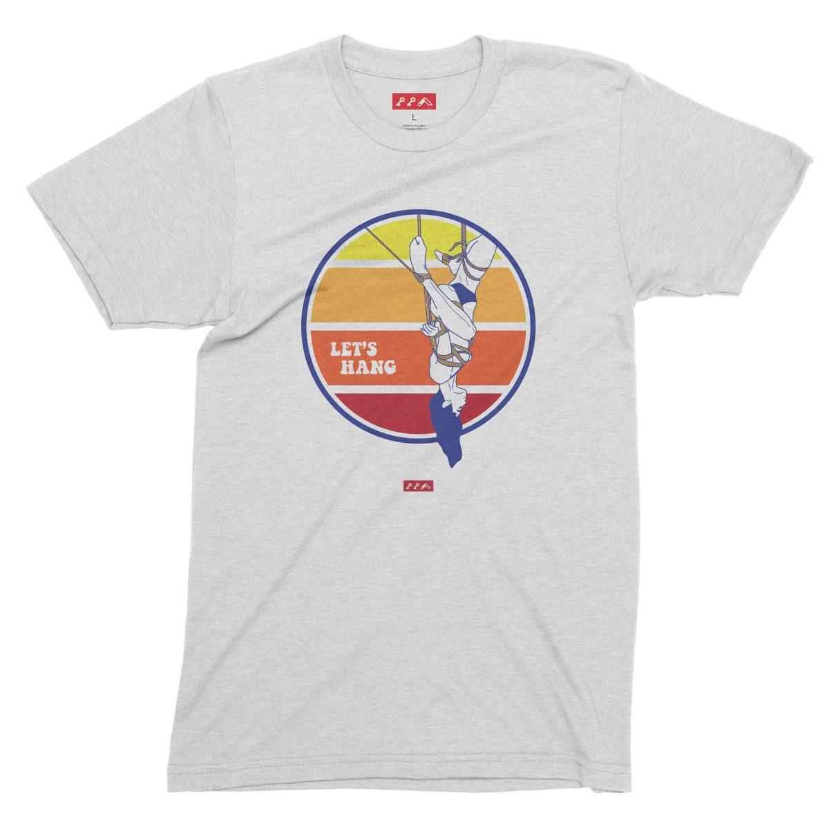 LET'S HANG shibari bondage shirt in white fleck tri-blend