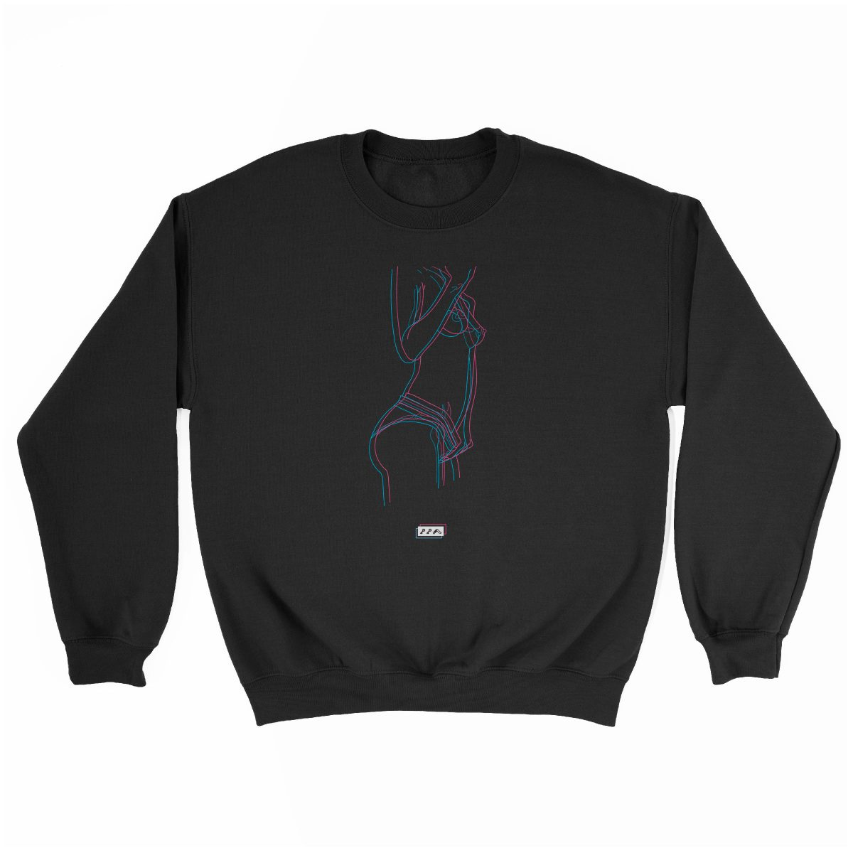 electric feelz sexy naked line drawing sweatshirt in black