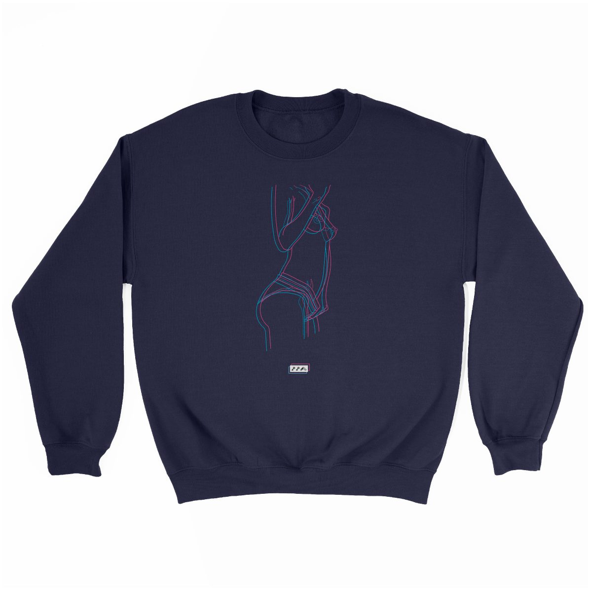 electric feelz sexy naked line drawing sweatshirt in navy