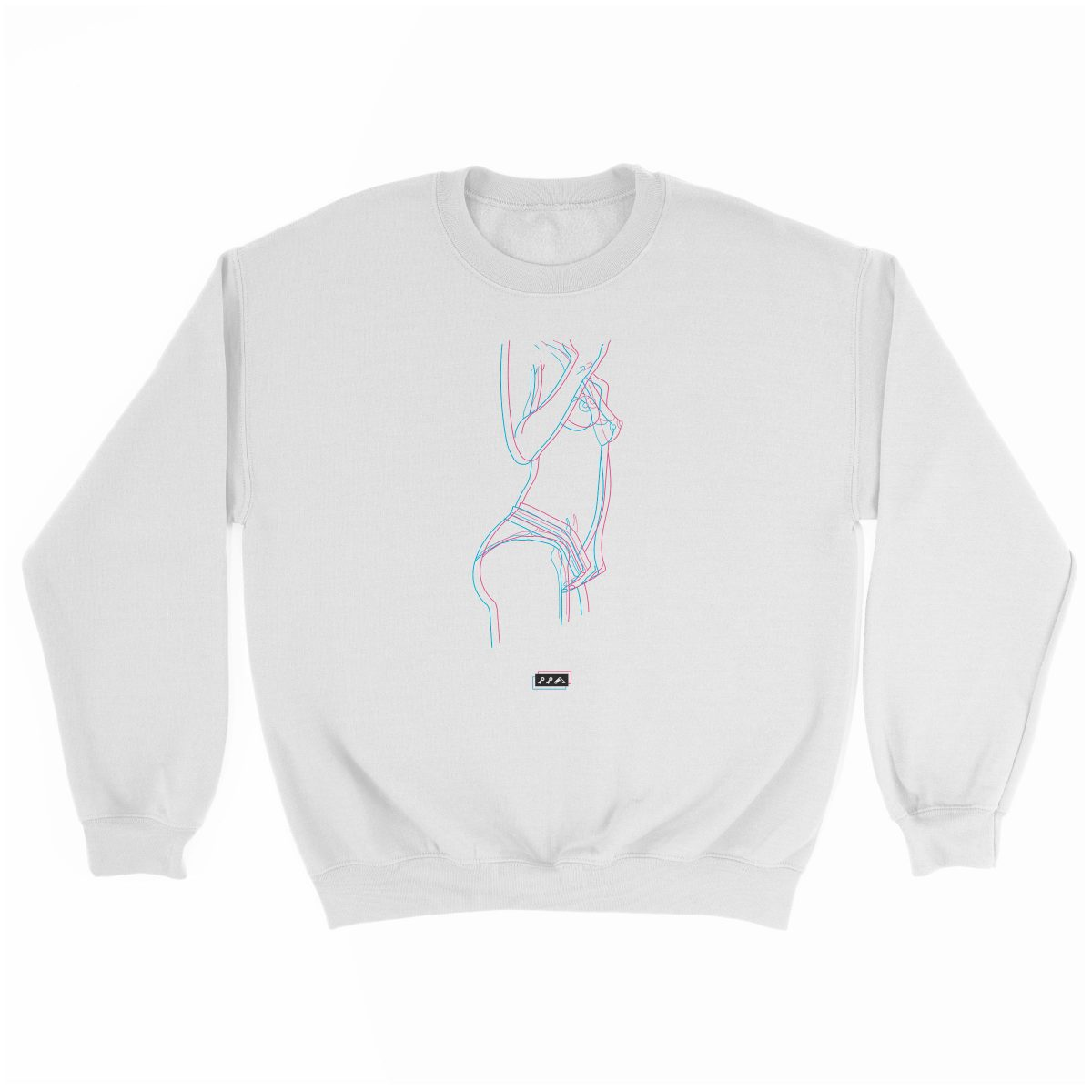 electric feelz sexy naked line drawing sweatshirt in white