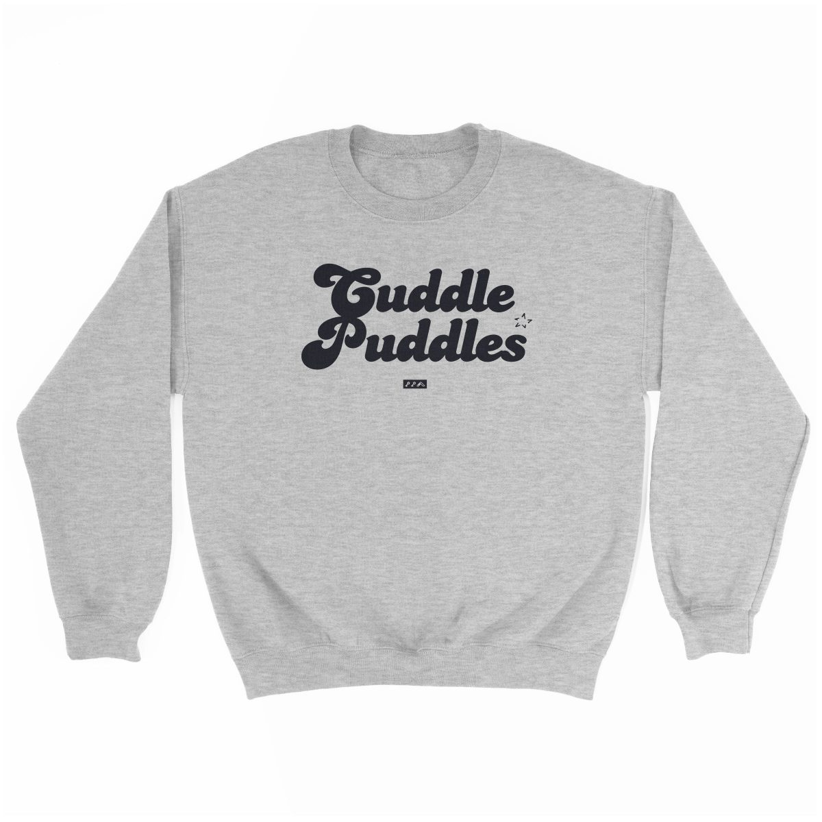 CUDDLE PUDDLE PARTY comfy sweatshirt in grey at kikicutt.com