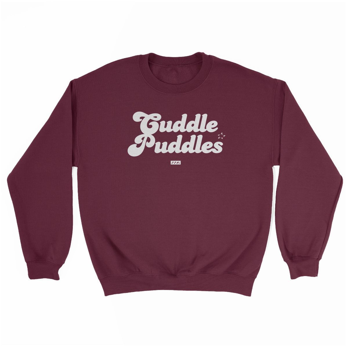 CUDDLE PUDDLE PARTY comfy sweatshirt in maroon at kikicutt.com