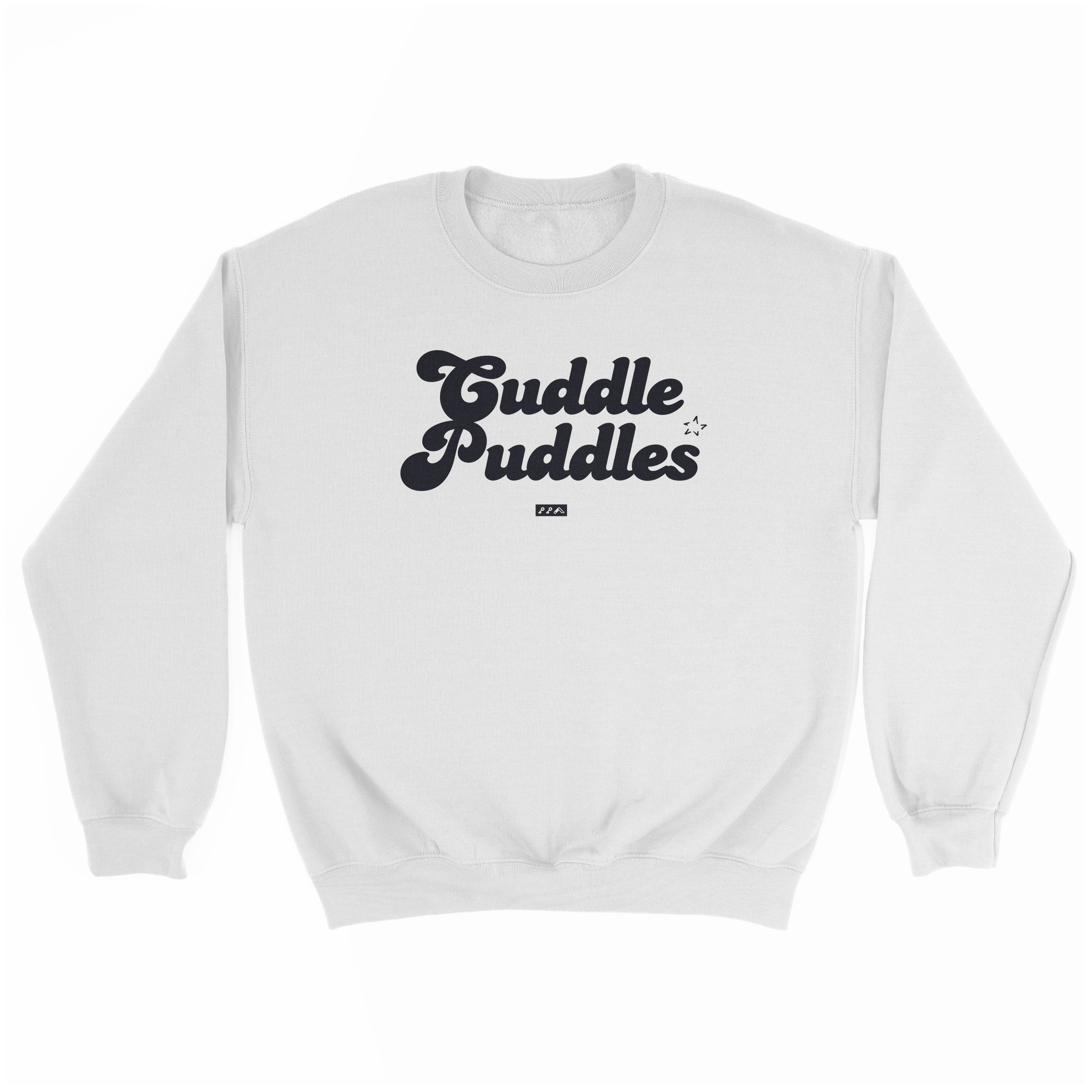 CUDDLE PUDDLE PARTY comfy sweatshirt in white at kikicutt.com
