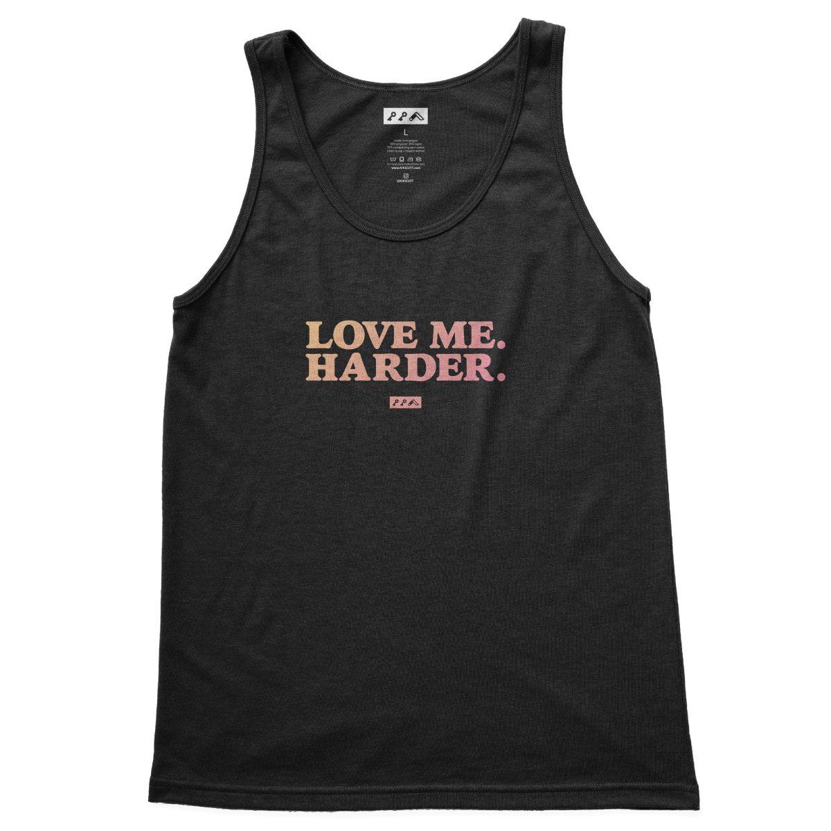 love me harder funny sex quotes tank top black tri-blend at kikicutt.com