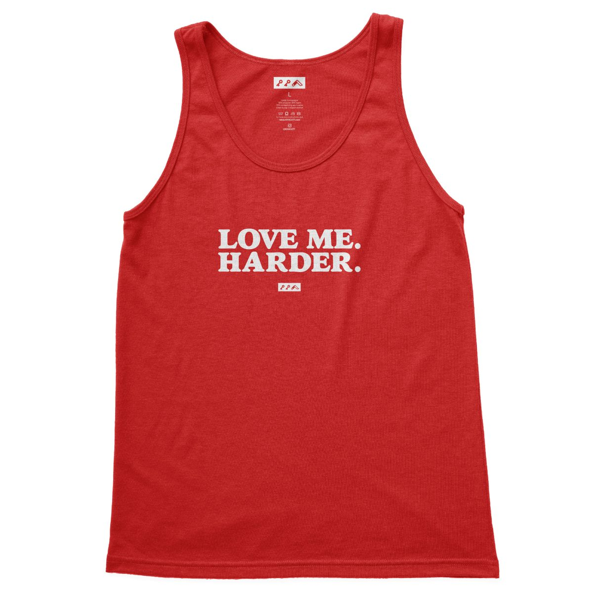 love me harder funny sex quotes tank top red tri-blend at kikicutt.com