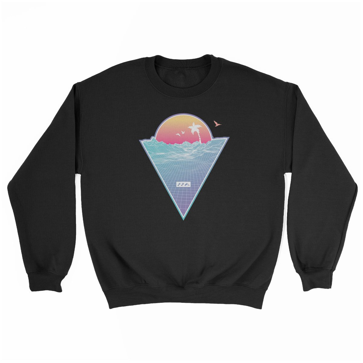 """OFF THE GRID"" cali vibes retro 80s design sweatshirt black at kikicutt.com"