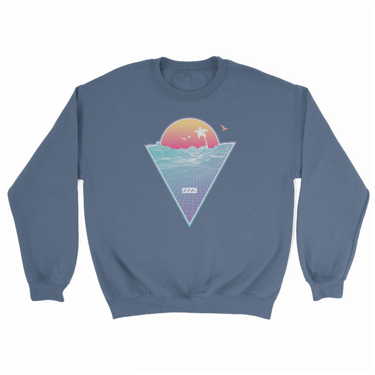 """OFF THE GRID"" cali vibes retro 80s design sweatshirt indigo at kikicutt.com"