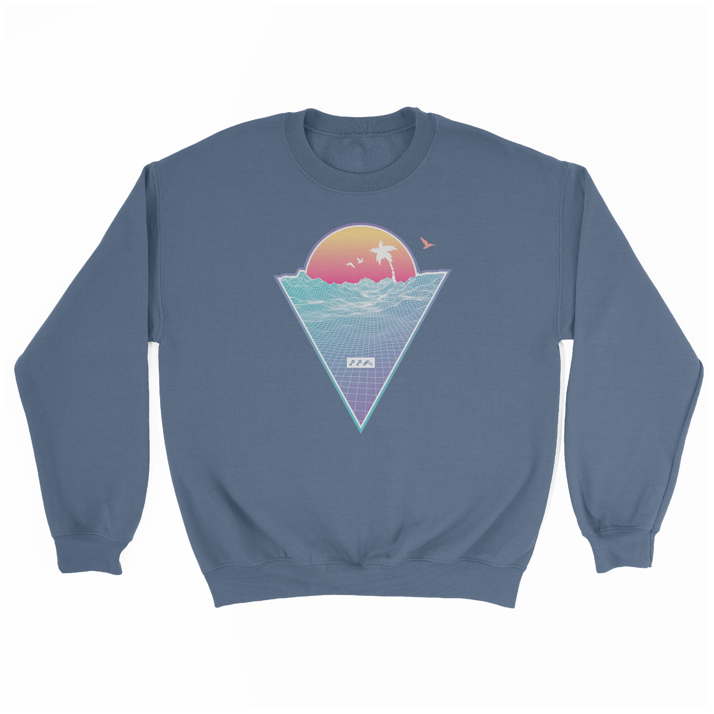 """OFF THE GRID"" cali vibes retro 80s design sweatshirt indigo at kikicutt.com"