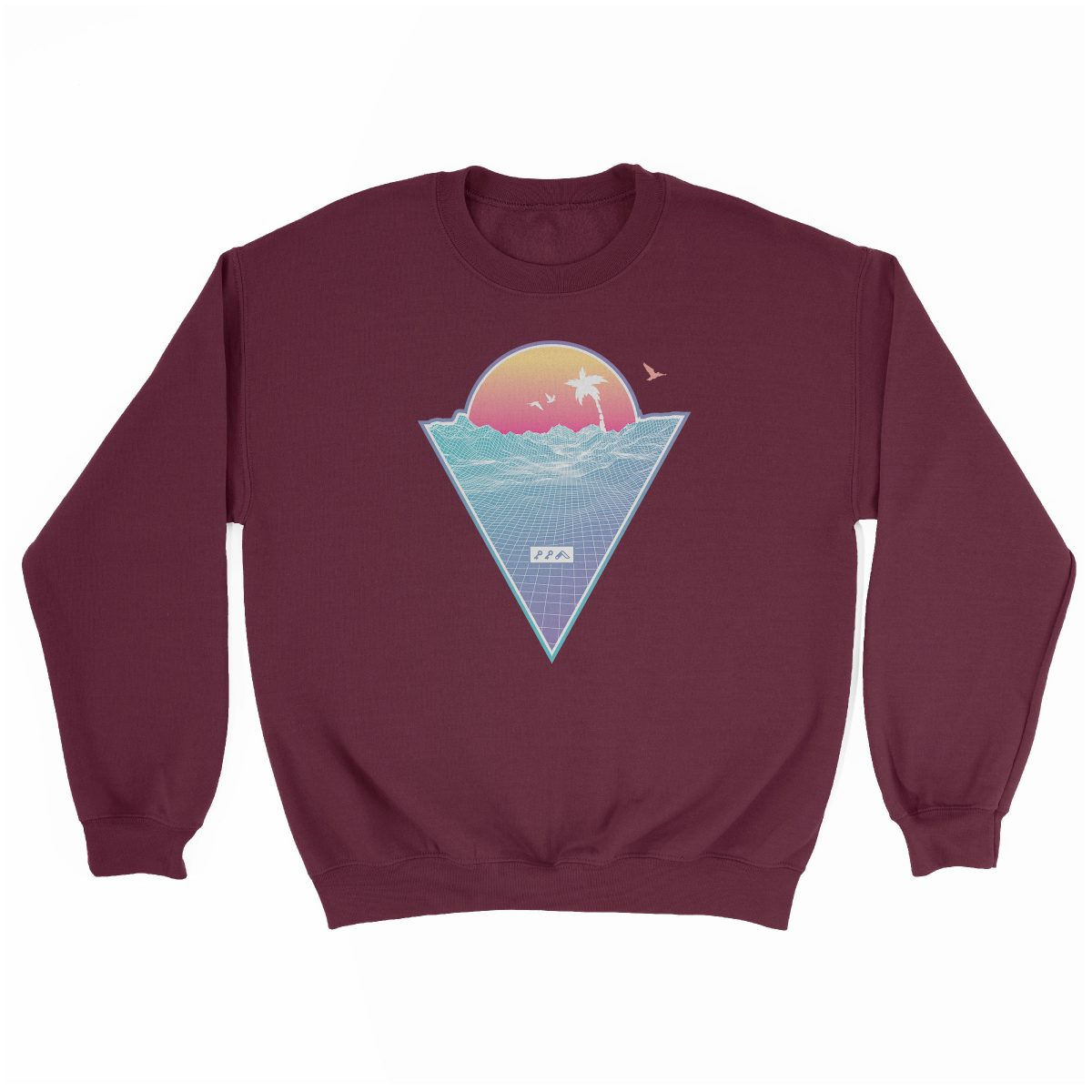 """OFF THE GRID"" cali vibes retro 80s design sweatshirt maroon at kikicutt.com"