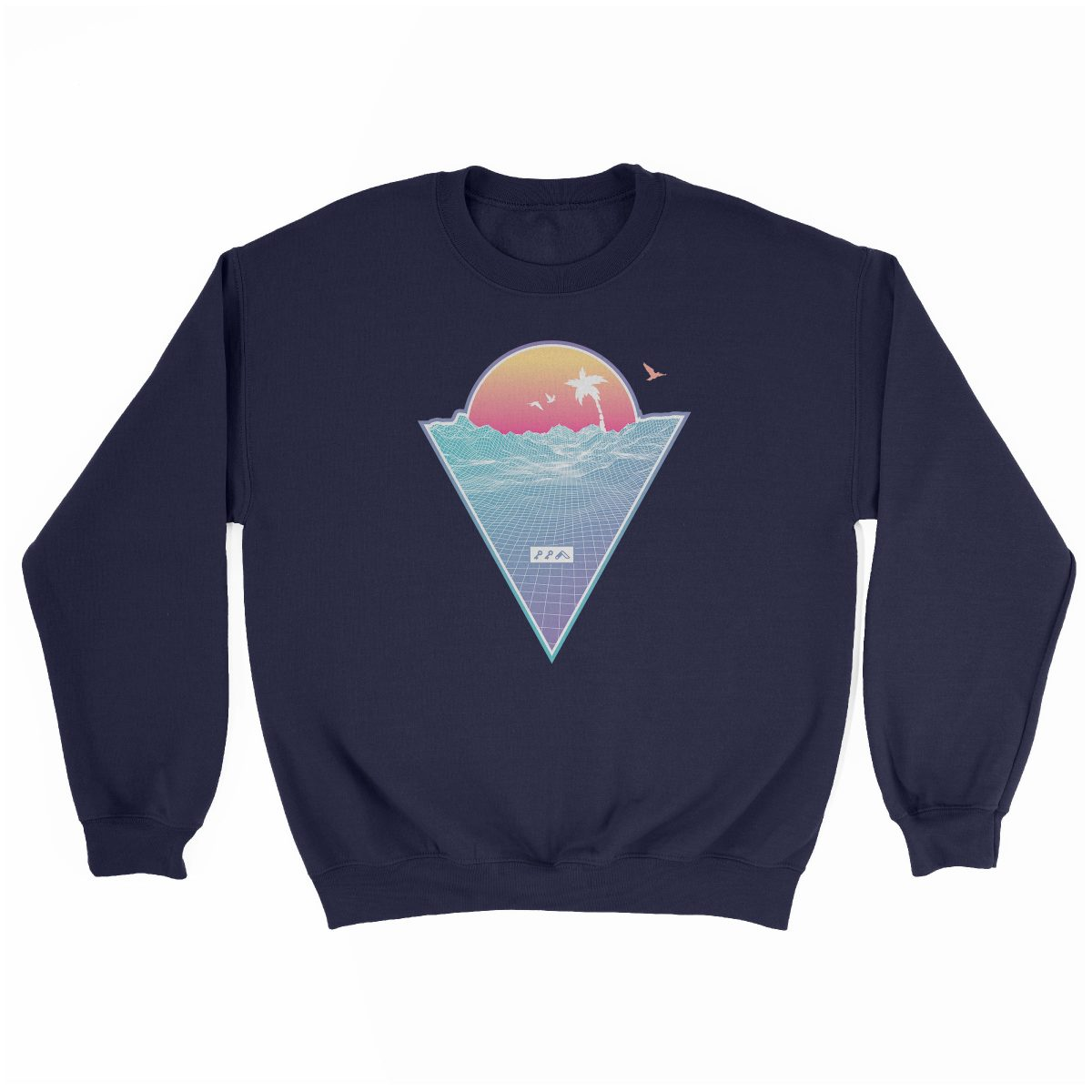 """OFF THE GRID"" cali vibes retro 80s design sweatshirt navy at kikicutt.com"