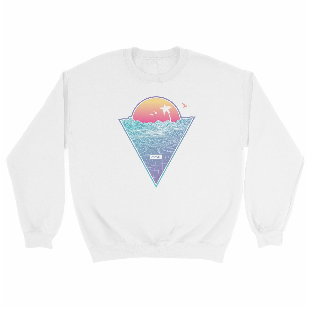 """OFF THE GRID"" cali vibes retro 80s design sweatshirt white at kikicutt.com"