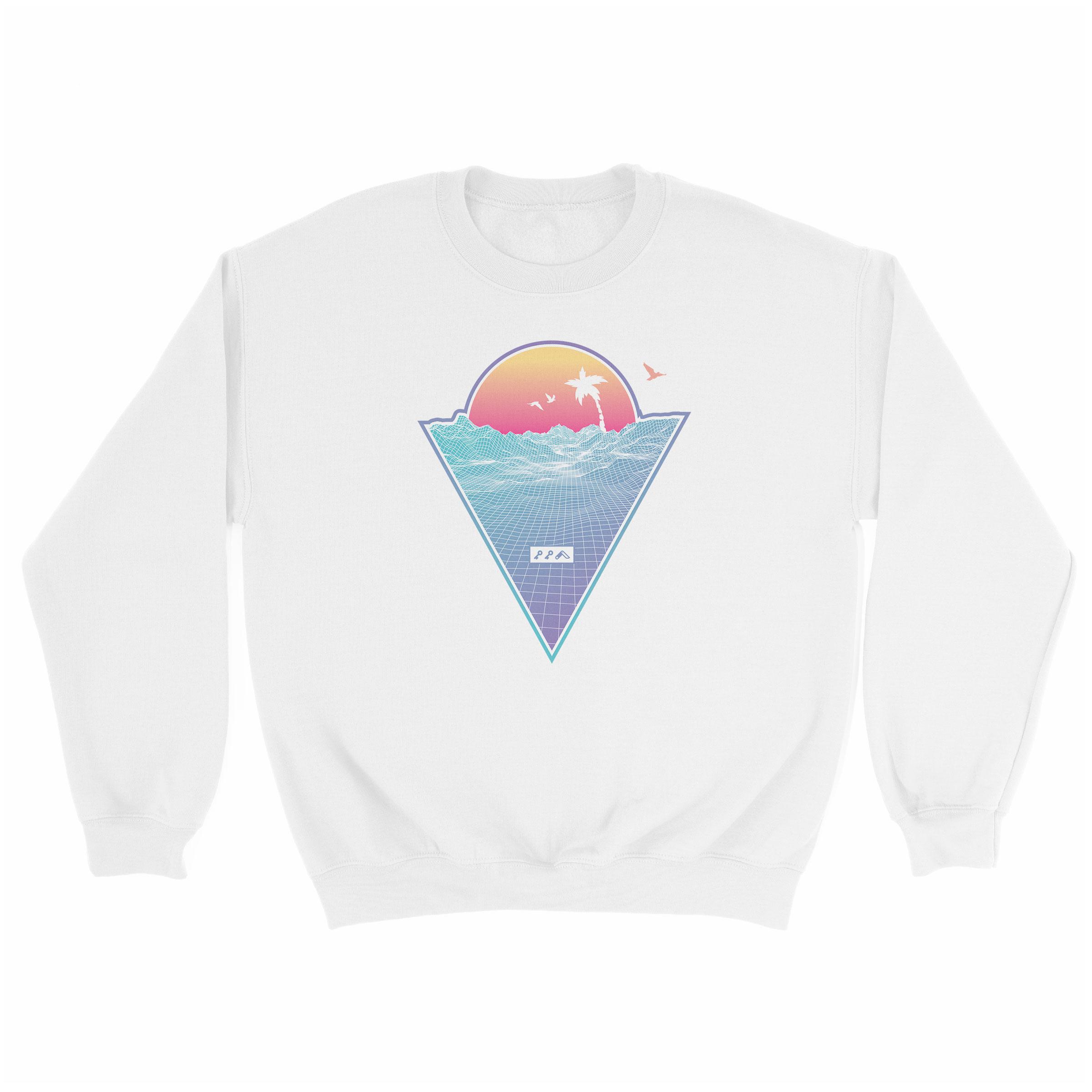 """OFF THE GRID"" cali vibes retro 80s design sweatshirt white at kikicutt.com"