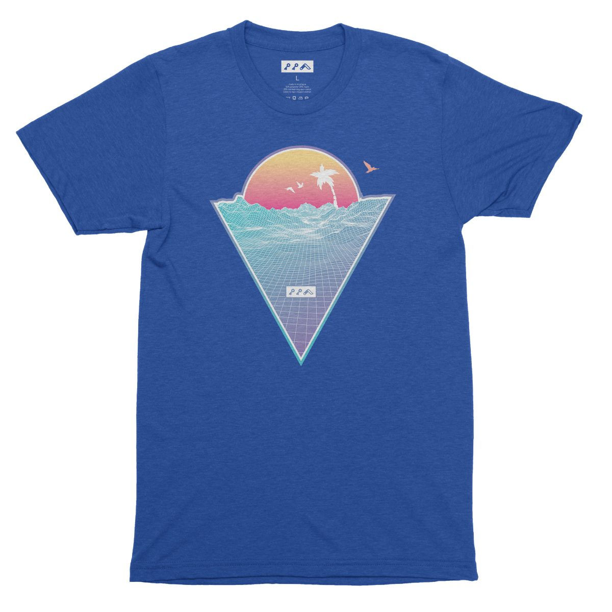 """OFF THE GRID"" cali vibes retro 80s design t-shirts dodger blue tri-blend by kikicutt"