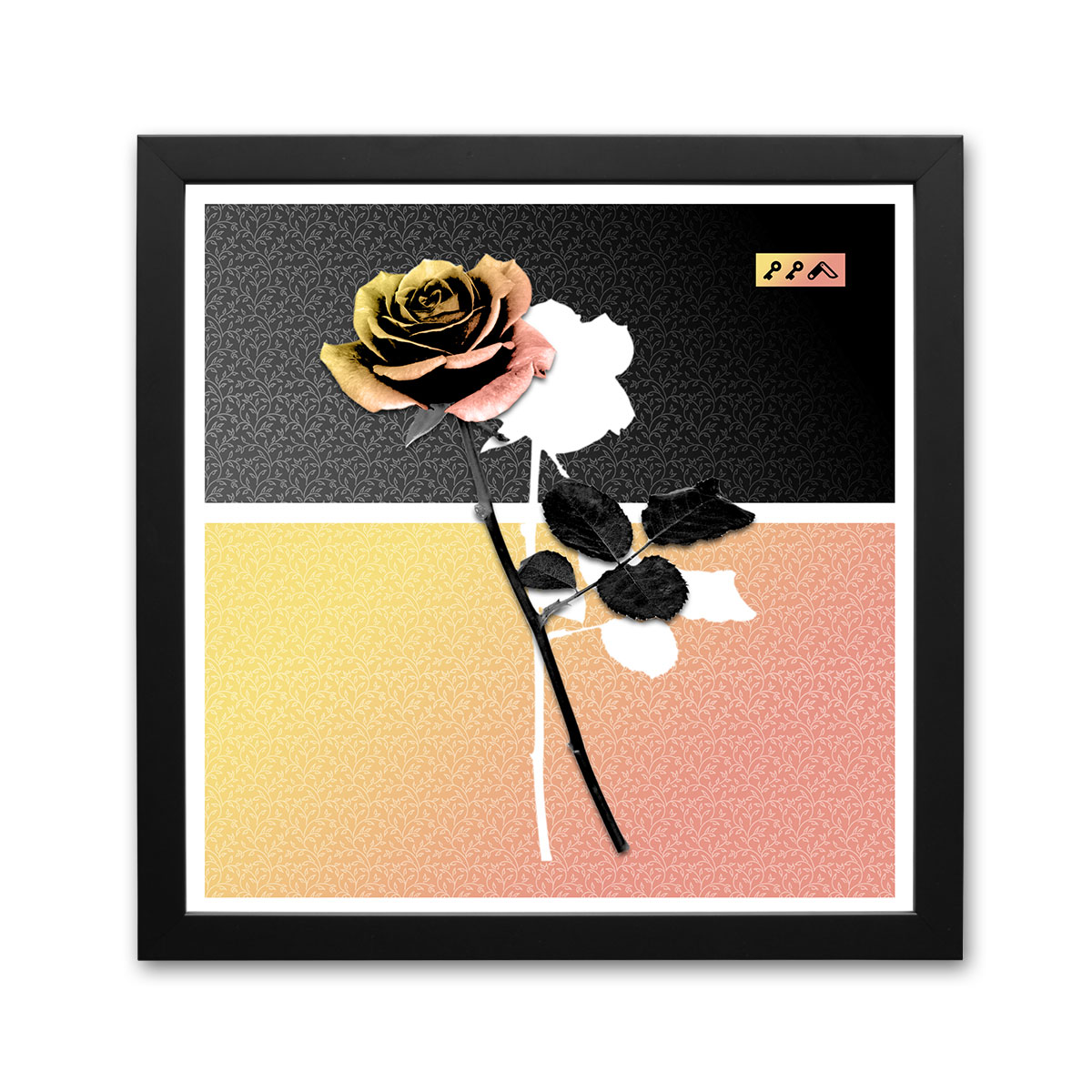 """ROSES ARE DEAD"" orange rose elegant modern graphic prints by kikicutt"