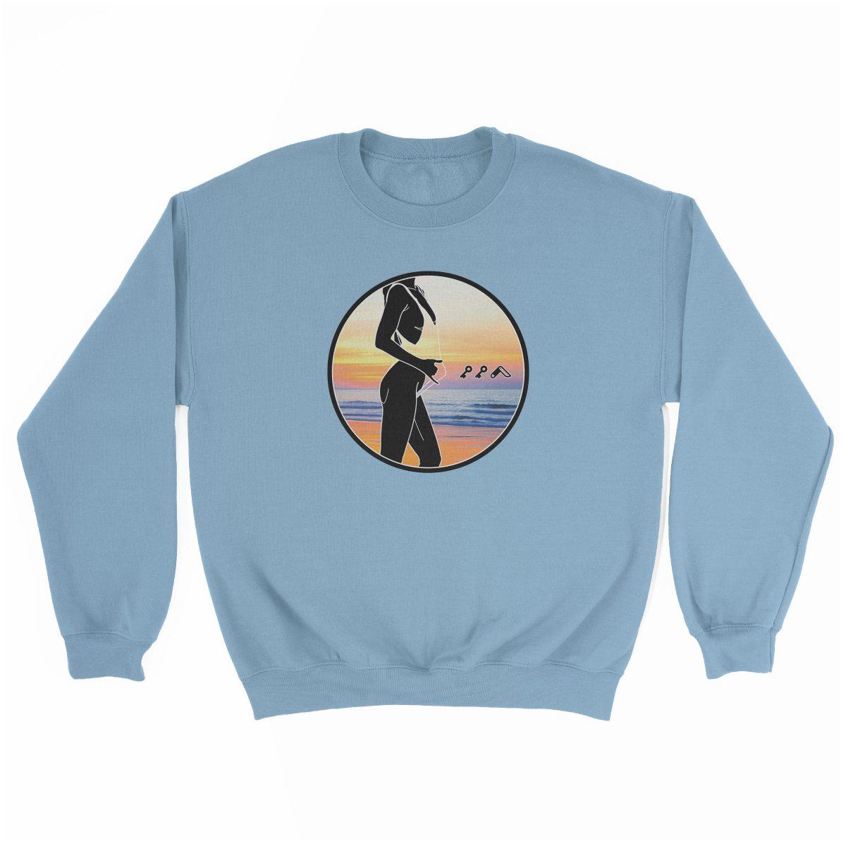 """BAE WATCH"" music festival beach sweatshirt in light blue"