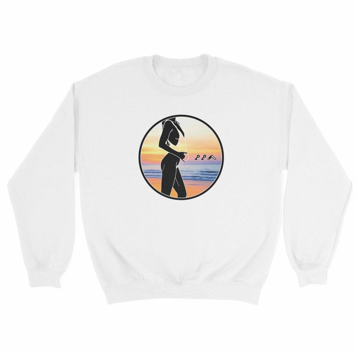 """BAE WATCH"" music festival beach sweatshirt in white"