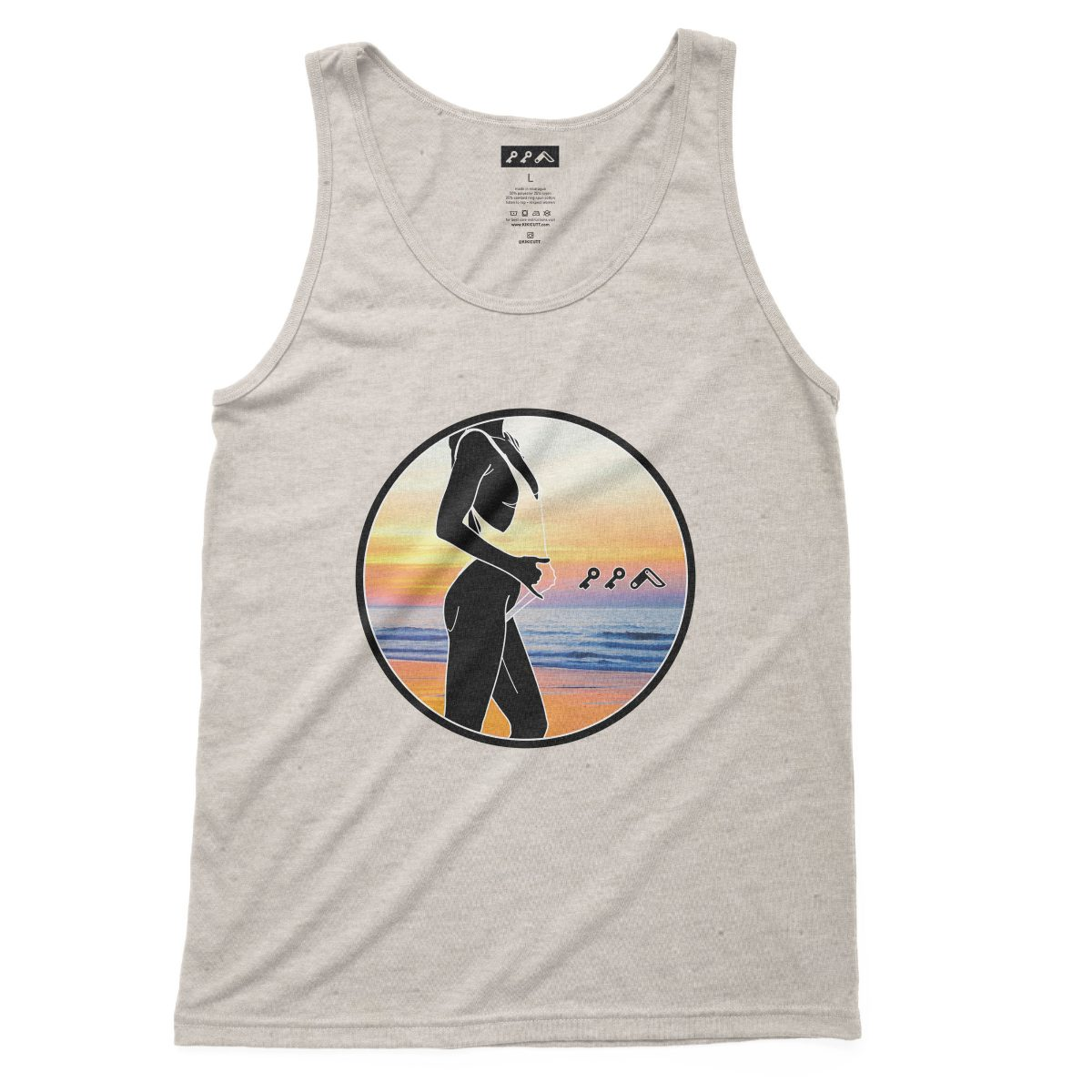 """BAE WATCH"" sexy music festival tank top in oatmeal at kikicutt.com"