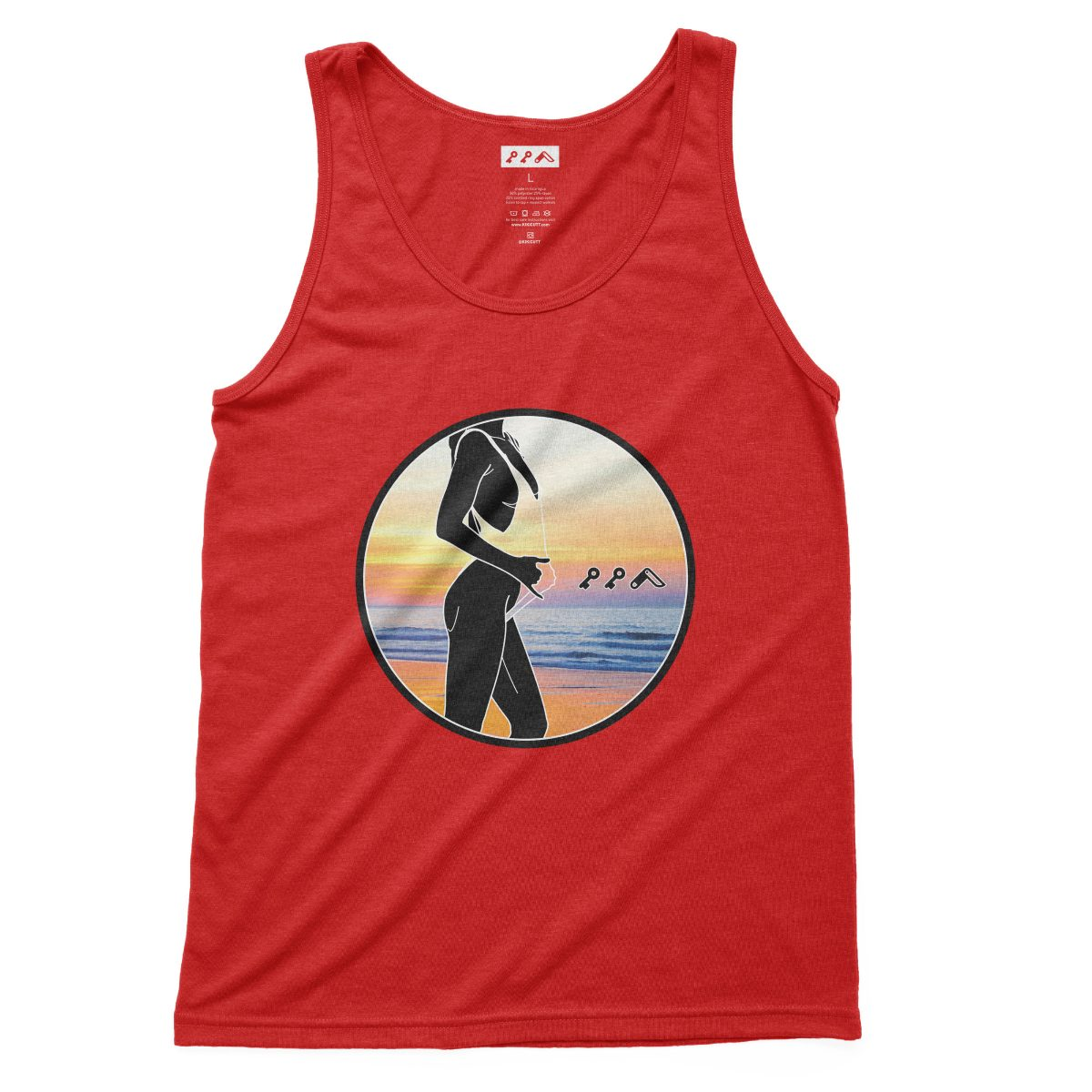 """BAE WATCH"" sexy music festival tank top in red at kikicutt.com"