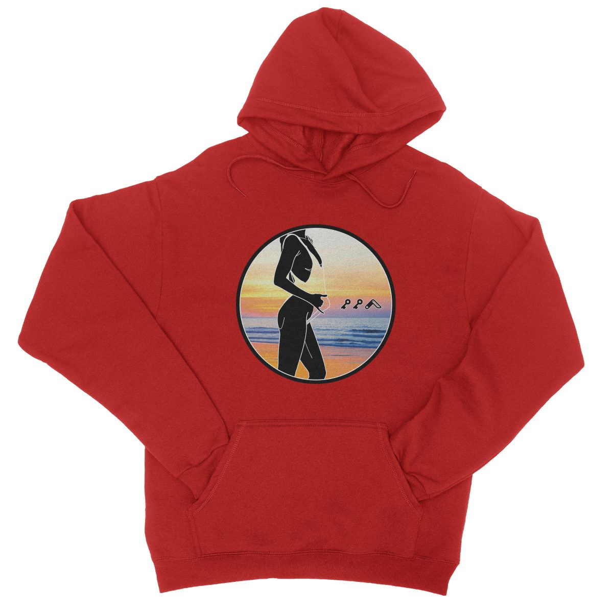 """BAE WATCH"" music festival soft beach hoodie in red"