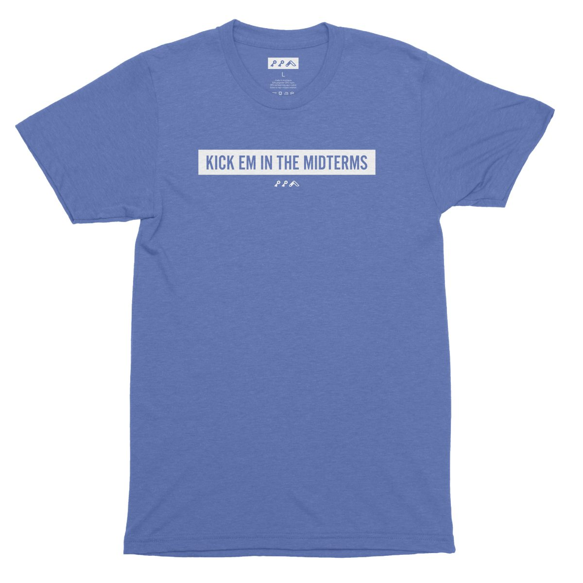 """""""KICK EM IN THE MIDTERMS"""" funny political t-shirt in blue"""