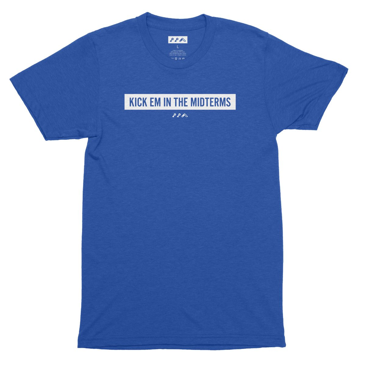 """""""KICK EM IN THE MIDTERMS"""" funny political t-shirt in royal blue"""
