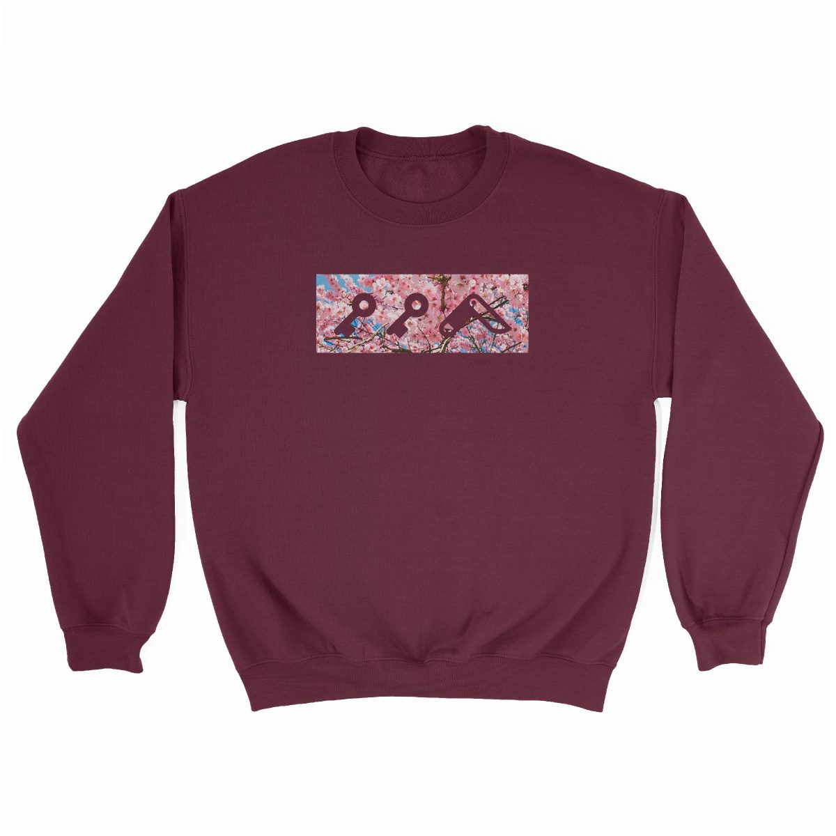 """CHERRY FLOWER bOM"" kikicutt logo japanese cherry tree soft graphic sweatshirt in maroon"