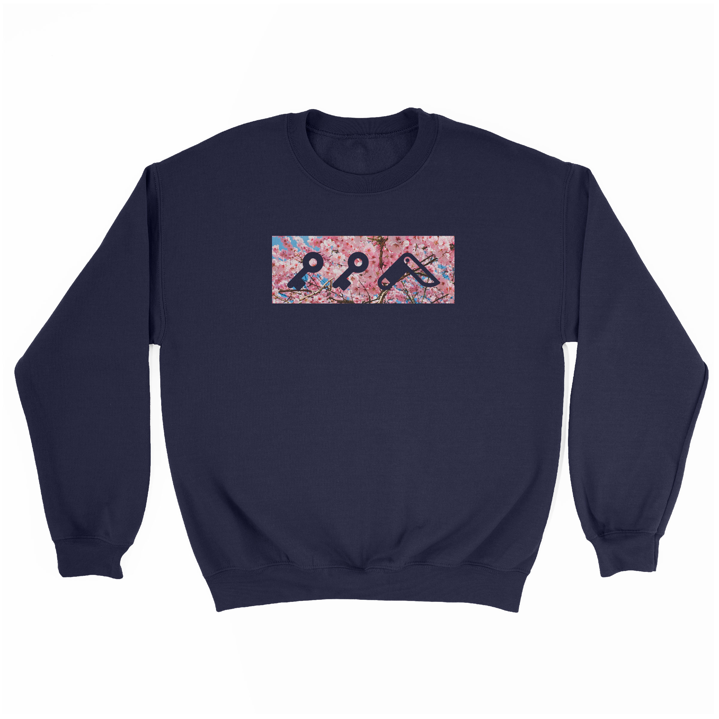"""CHERRY FLOWER bOM"" kikicutt logo japanese cherry tree soft graphic sweatshirt in navy"