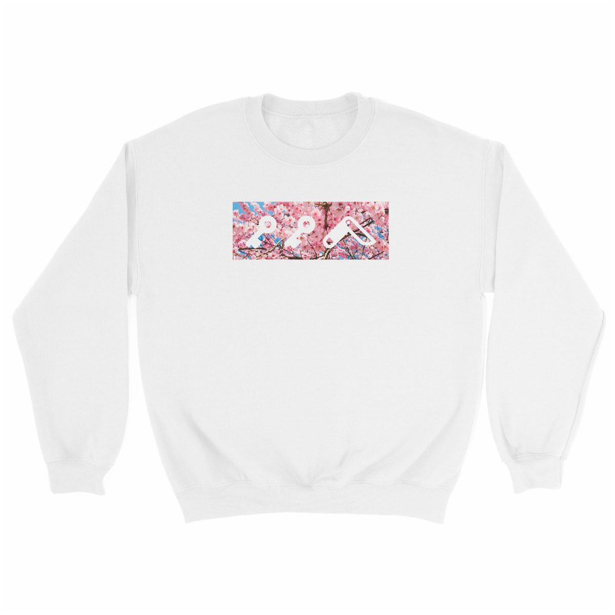 """CHERRY FLOWER bOM"" kikicutt logo japanese cherry tree soft graphic sweatshirt in white"