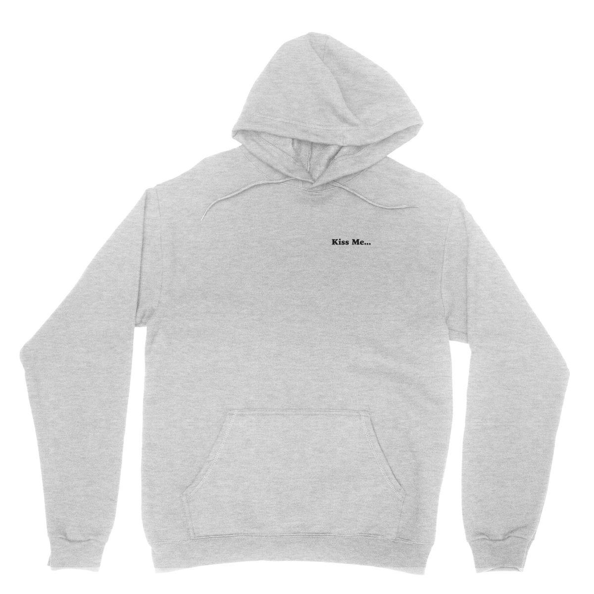 """kiss me between my legs"" hidden message hoodies in grey by kikicutt"