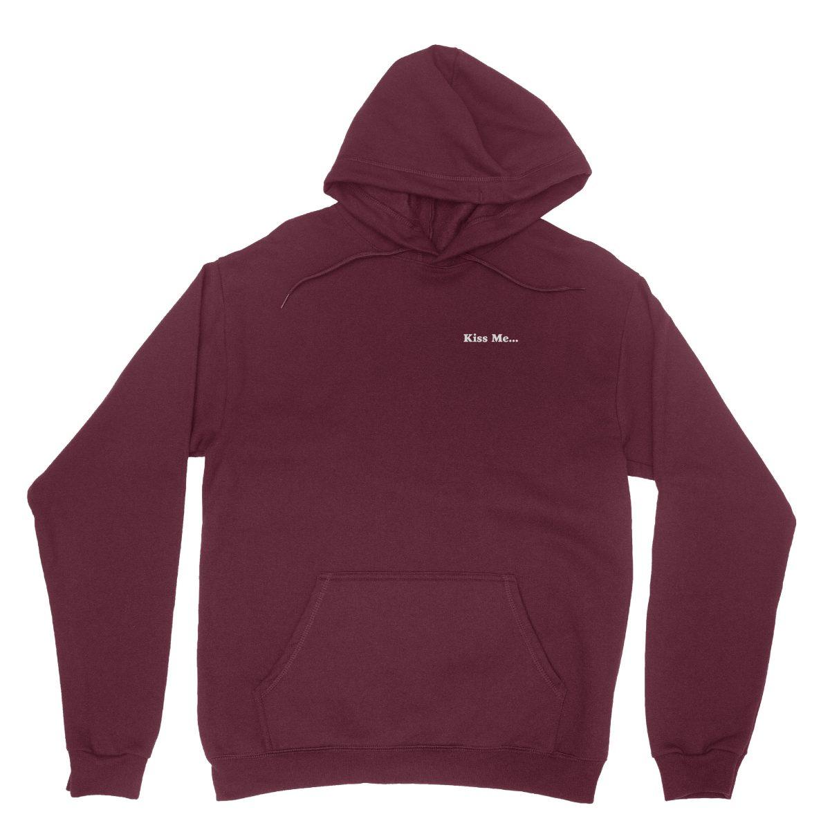 """kiss me between my legs"" hidden message hoodies in maroon by kikicutt"