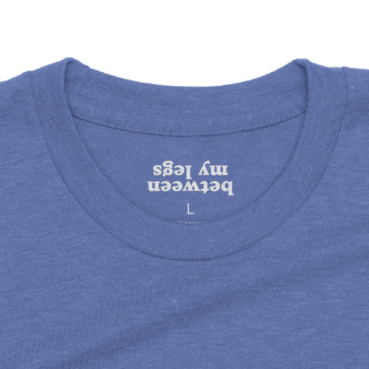 """""""Kiss Me... Between My Legs"""" hidden message t-shirt in blue"""