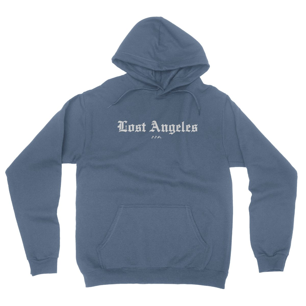 """Lost Angeles"" old english lettering soft hoodies in indigo by KIKICUTT"