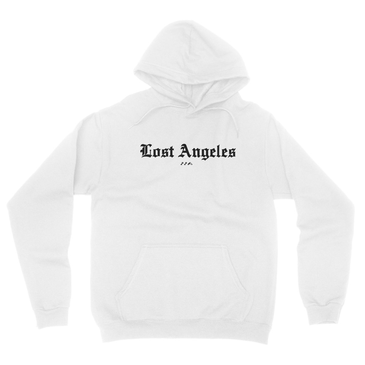 """Lost Angeles"" old english lettering soft hoodies in white by KIKICUTT"