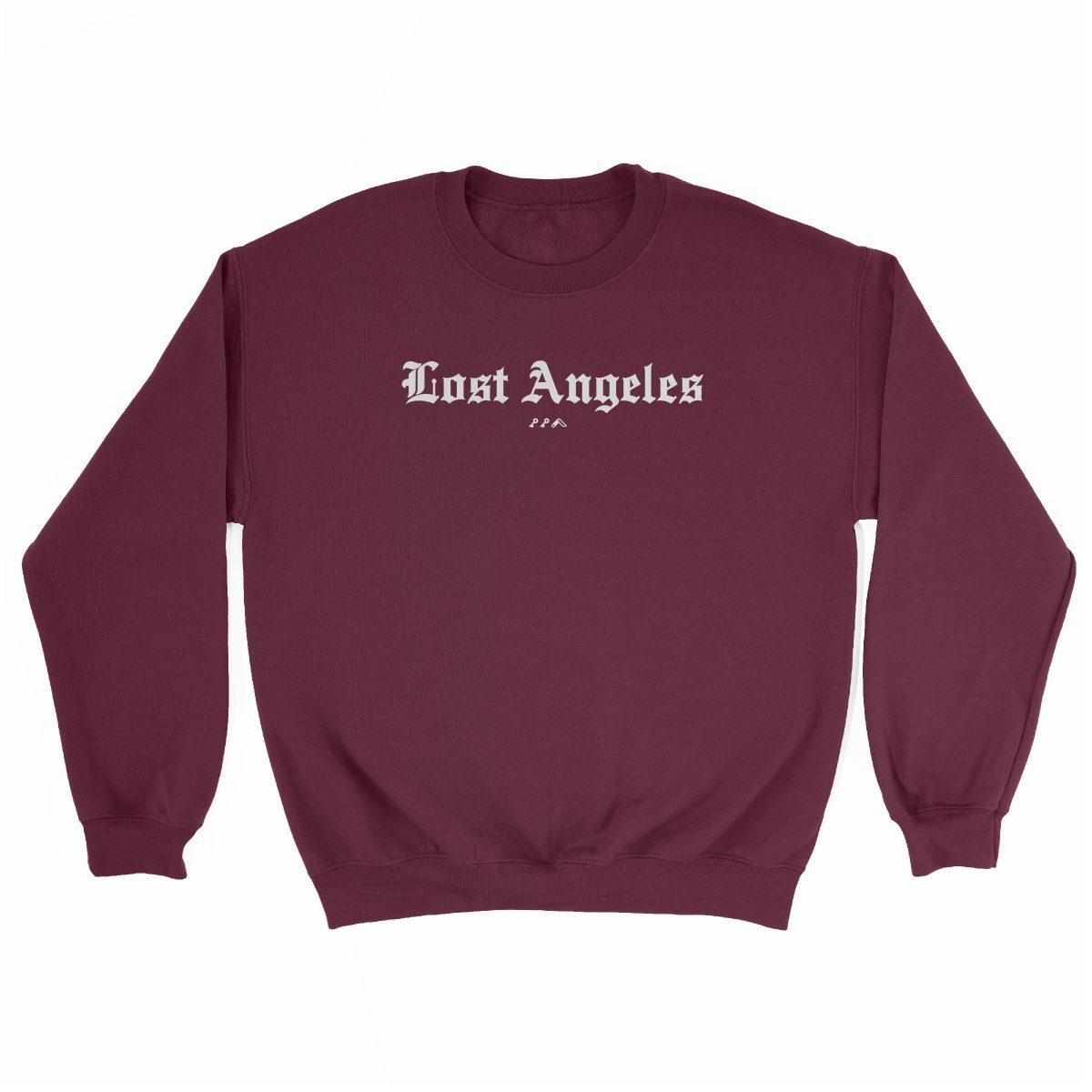 """Lost Angeles"" soft sweatshirt in maroon by KIKICUTT"