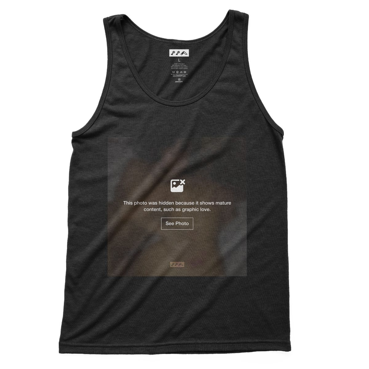 """GRAPHIC LOVE"" sexual content tank tops in soft black tri-blend"