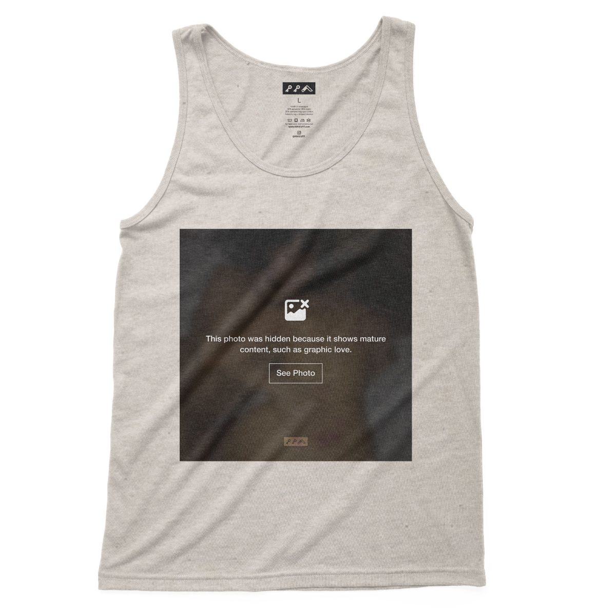 """GRAPHIC LOVE"" sexual content tank tops in soft oatmeal tri-blend"